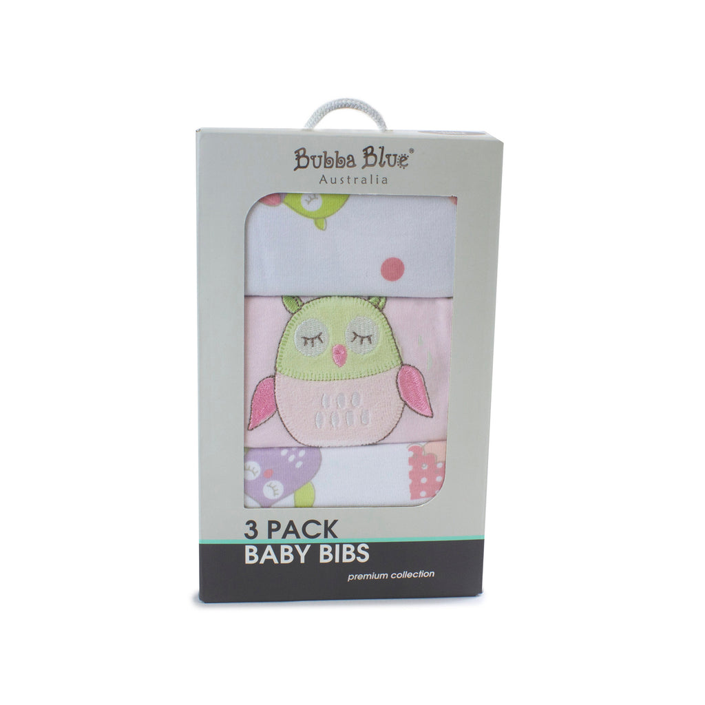 Girl Baby Owl 3pk Bib Set - Bubba Blue Australia