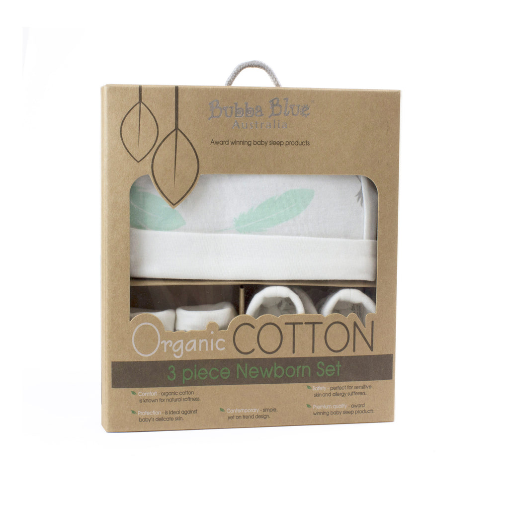 New Organic Feathers 3pcs Newborn Layette Set