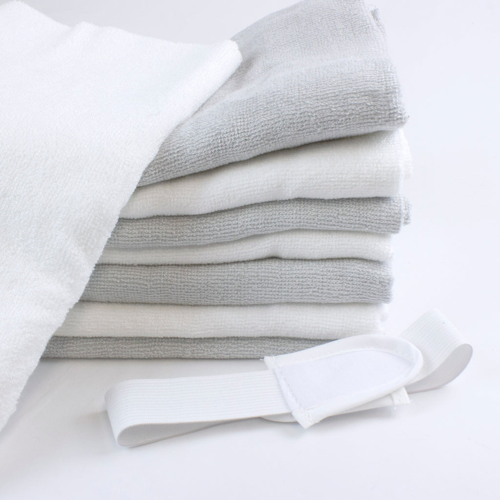 Bamboo White & Grey 8 pack Nappies Plus FREE 100 sheets Nappy Liners