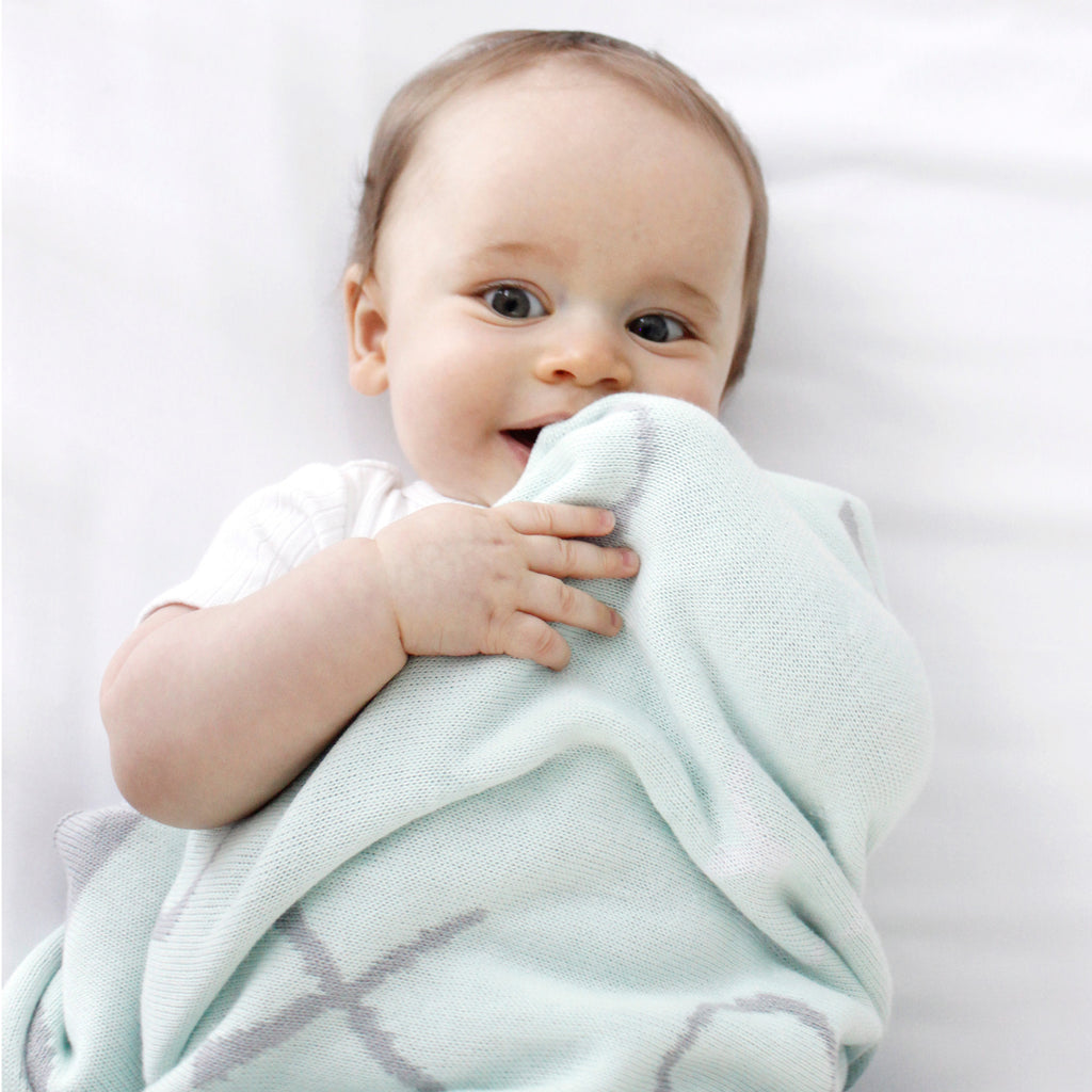 Mint Meadow Bamboo Knit Blanket - Bubba Blue Australia