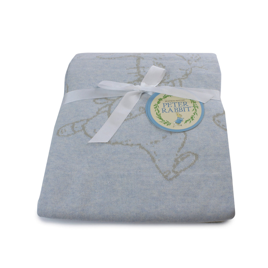 Peter Rabbit 'Hop Little Rabbit' Cotton Knit Blanket - Blue - Bubba Blue Australia