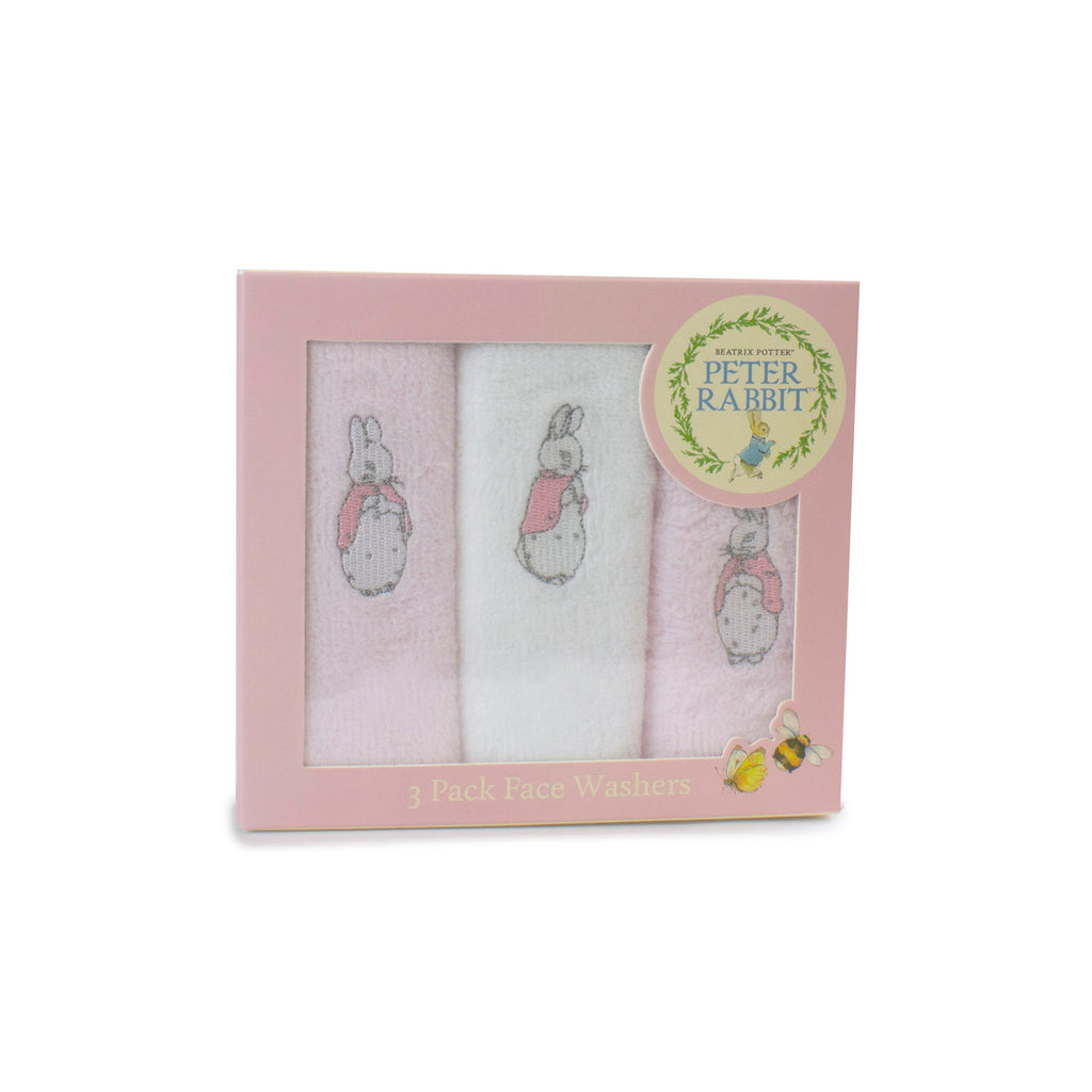 Peter Rabbit 'Hop Little Rabbit' 3 Pack Face Washers - Pink - Bubba Blue Australia
