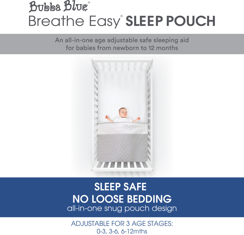 Breathe Easy® 1.0 Tog Sleep Pouch - White/Grey
