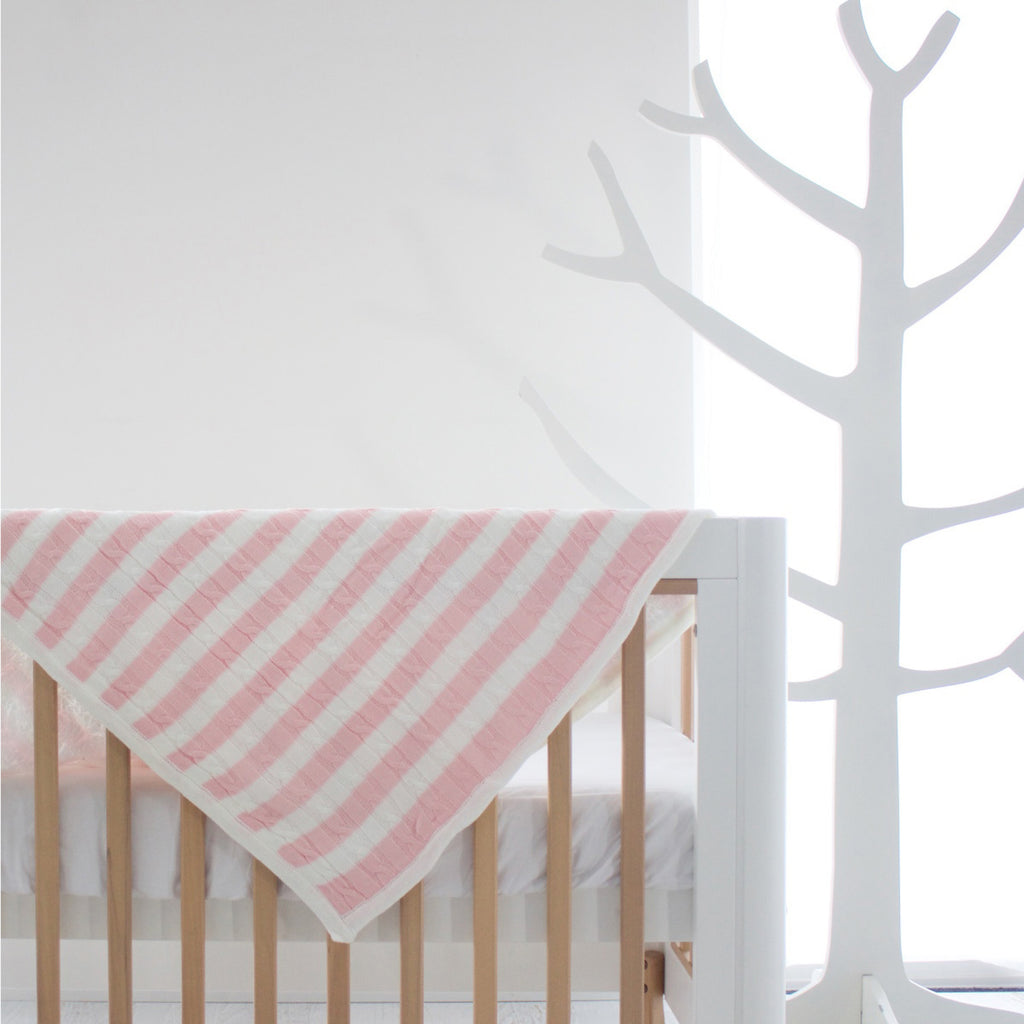 Stripe Reversible Cuddle Blanket - Pink