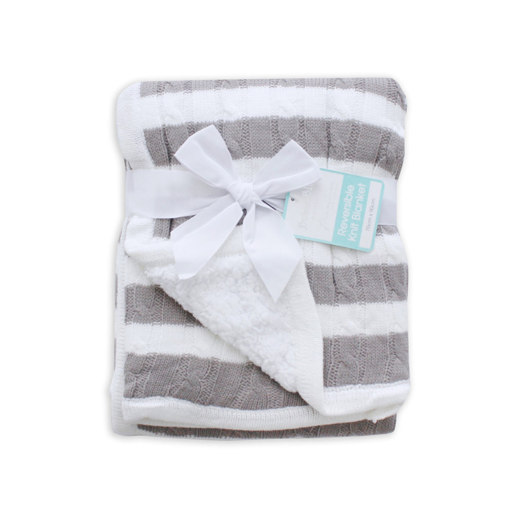 Stripe Reversible Cuddle Blanket - Grey - Bubba Blue Australia