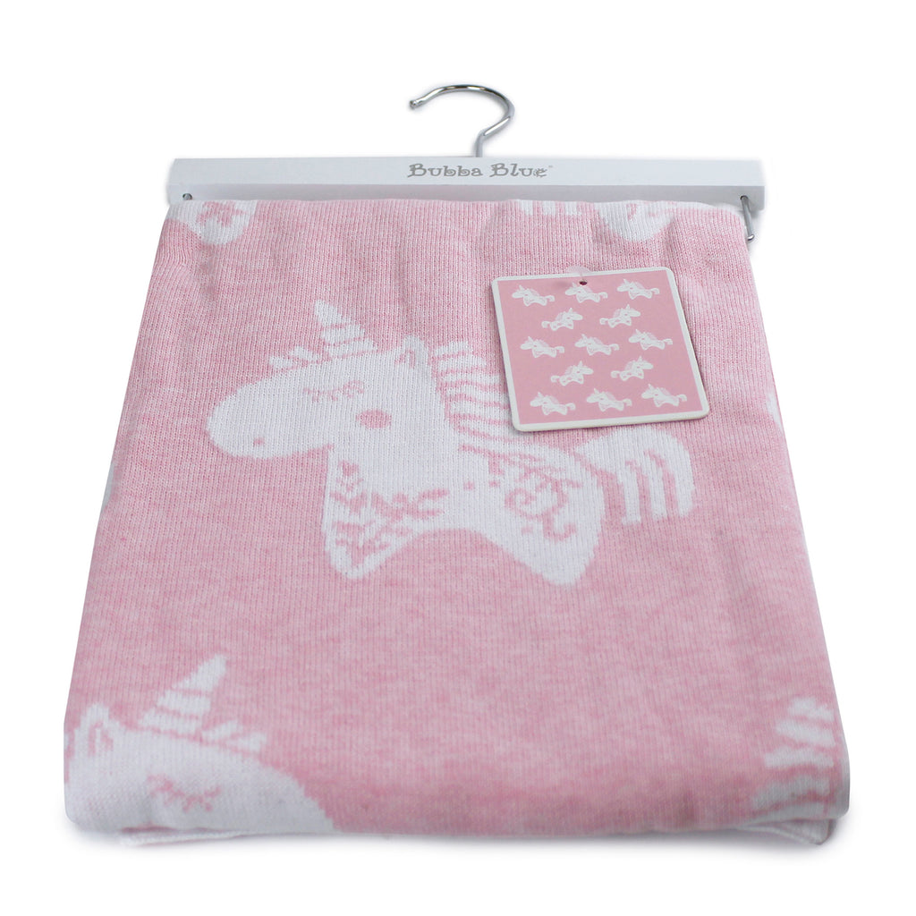 Unicorn Magic Cotton Knit Blanket - Bubba Blue Australia
