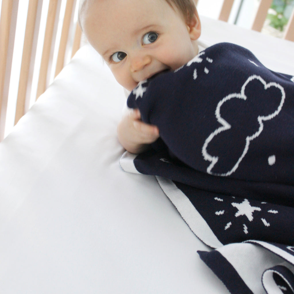 Navy Wish Upon a Star Cotton Knit Blanket - Bubba Blue Australia