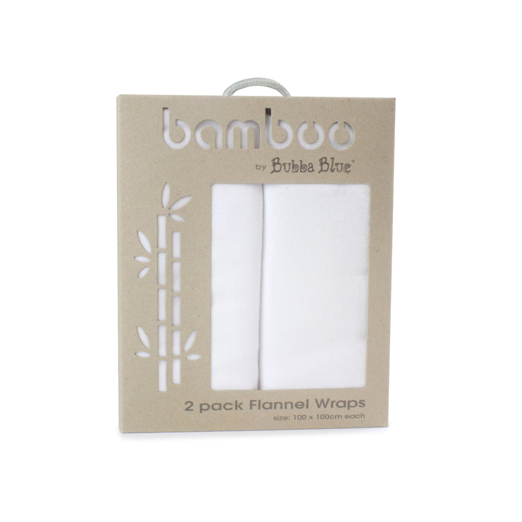 Bamboo White 2pk Flannel Wraps - Bubba Blue Australia