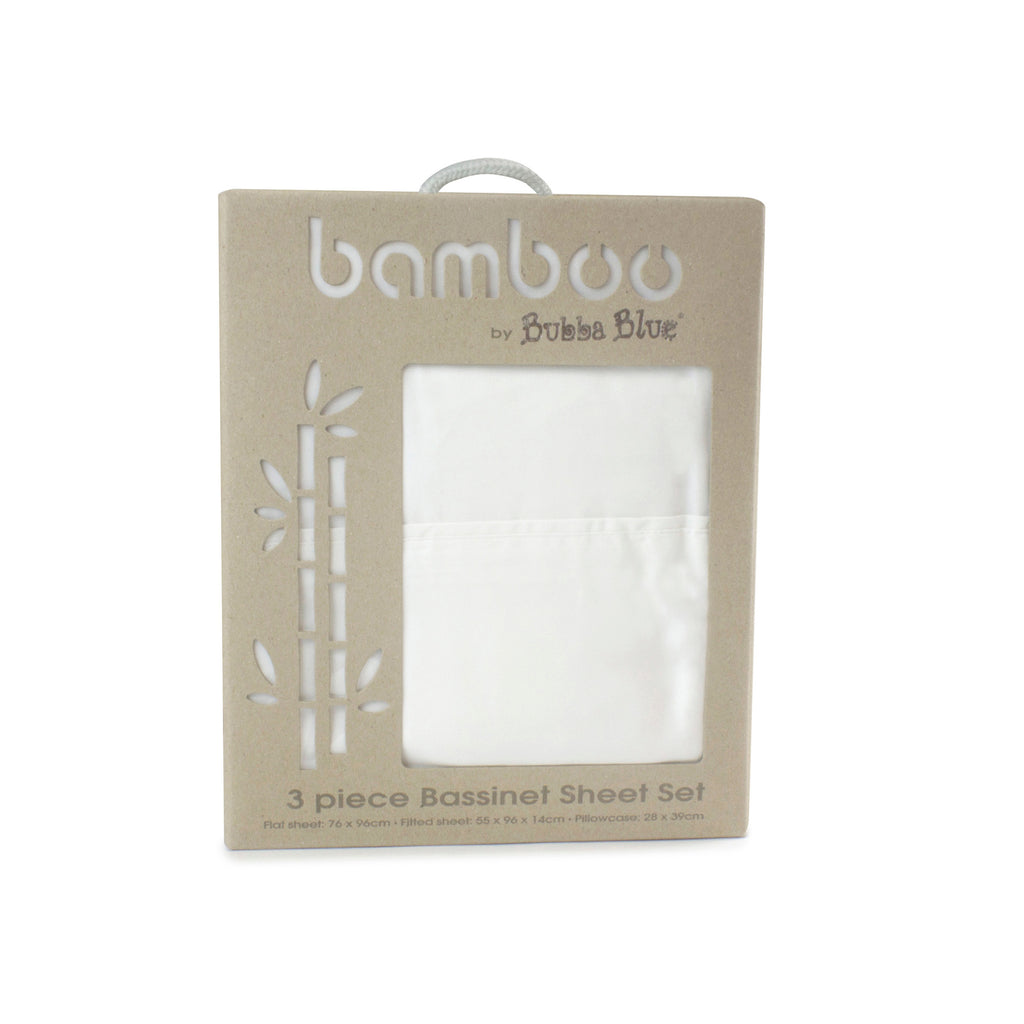 Bamboo White 3 piece Bassinet Sheet Set - Bubba Blue Australia