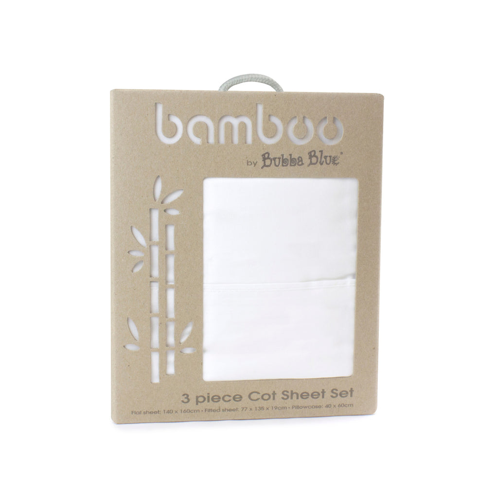 Bamboo White 3 piece Cot Sheet Set - Bubba Blue Australia