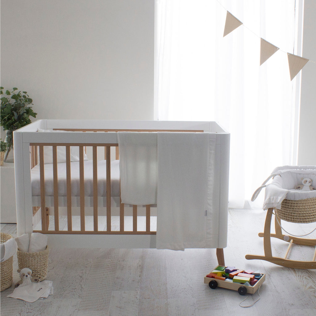 Bamboo White Cot Waffle Blanket