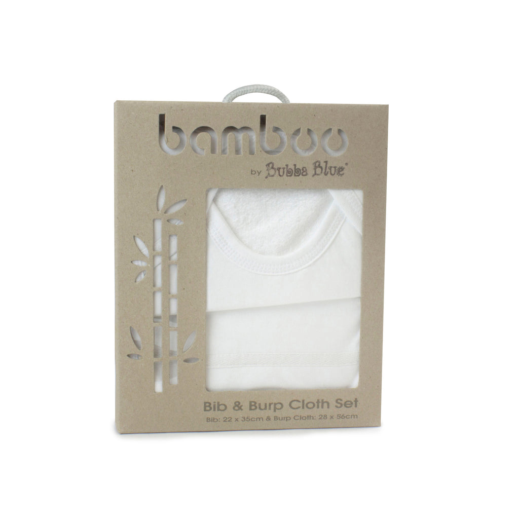 Bamboo White Bib & Burp Cloth Set - Bubba Blue Australia