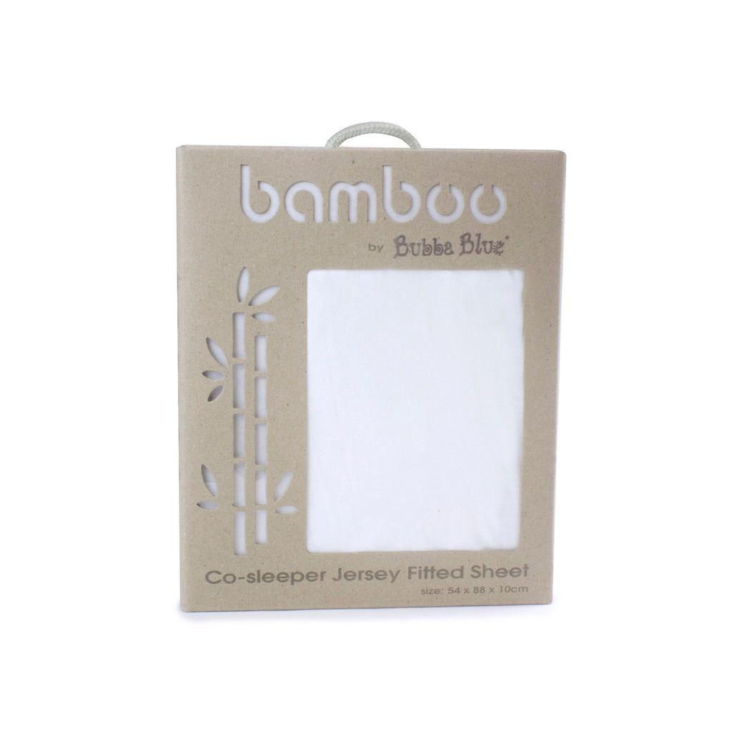 Bamboo White Co-sleeper Jersey Fitted sheet - Bubba Blue Australia