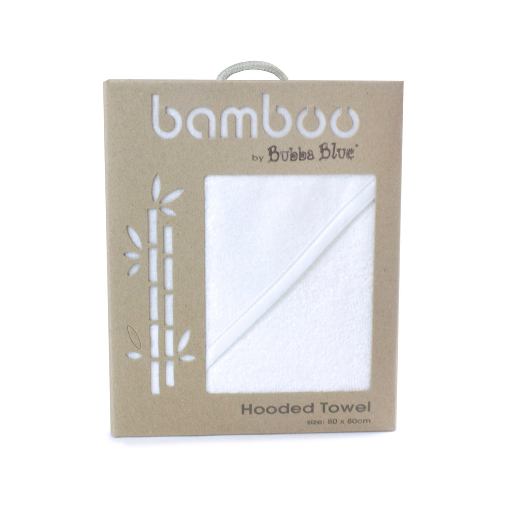 Bamboo White Hooded Towel - Bubba Blue Australia