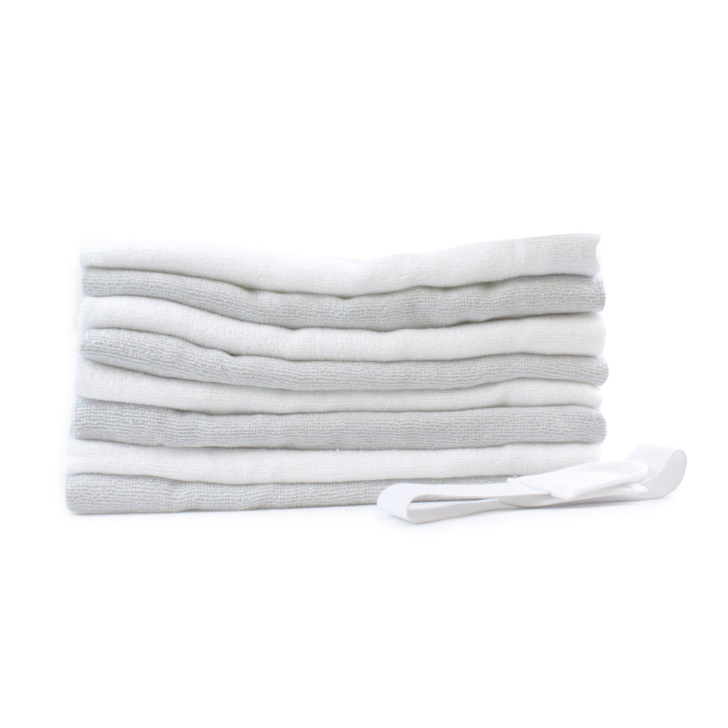 Bamboo White & Grey 8 pack Nappies Plus FREE Hand Sanitiser
