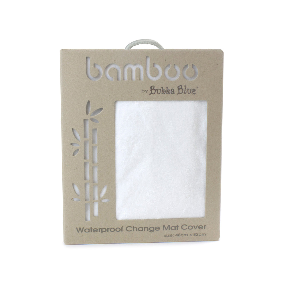 Bamboo White Waterproof Change Mat Cover - Bubba Blue Australia