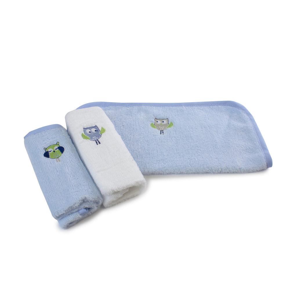Boy Baby Owl 3pk Face Washers - Bubba Blue Australia