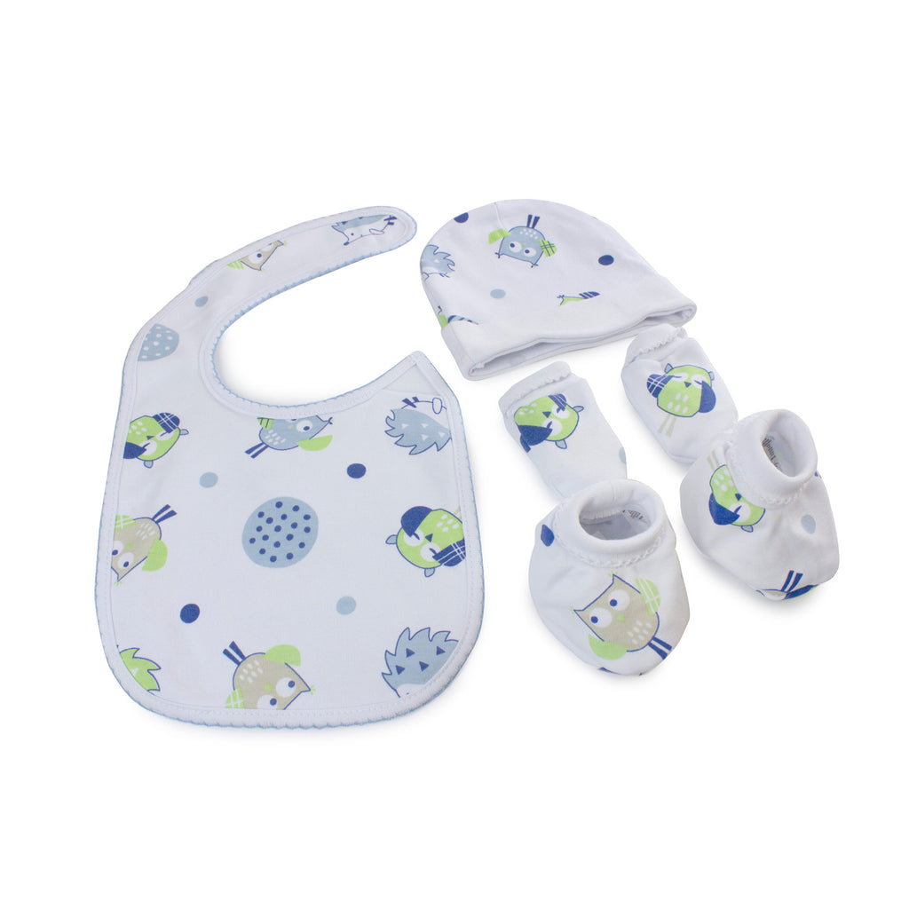 Boy Baby Owl 4 Piece Newborn Layette Set - Bubba Blue Australia