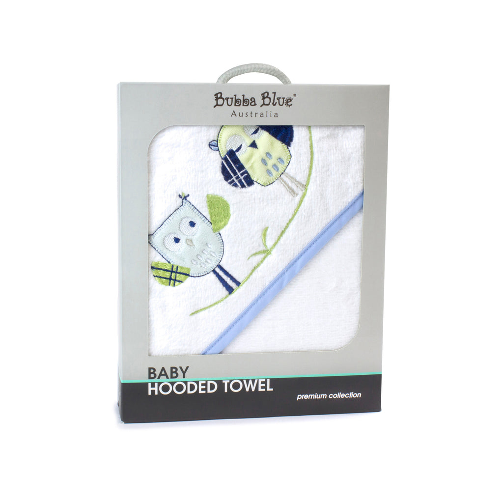 Boy Baby Owl Hooded Towel