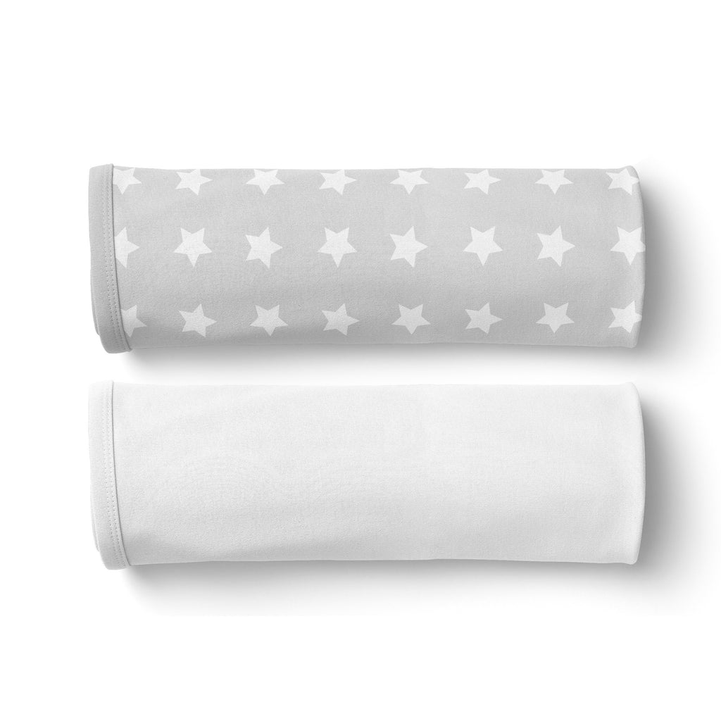 Everyday Essentials 2 pack Jersey Wraps - White, Grey Stars - Bubba Blue Australia