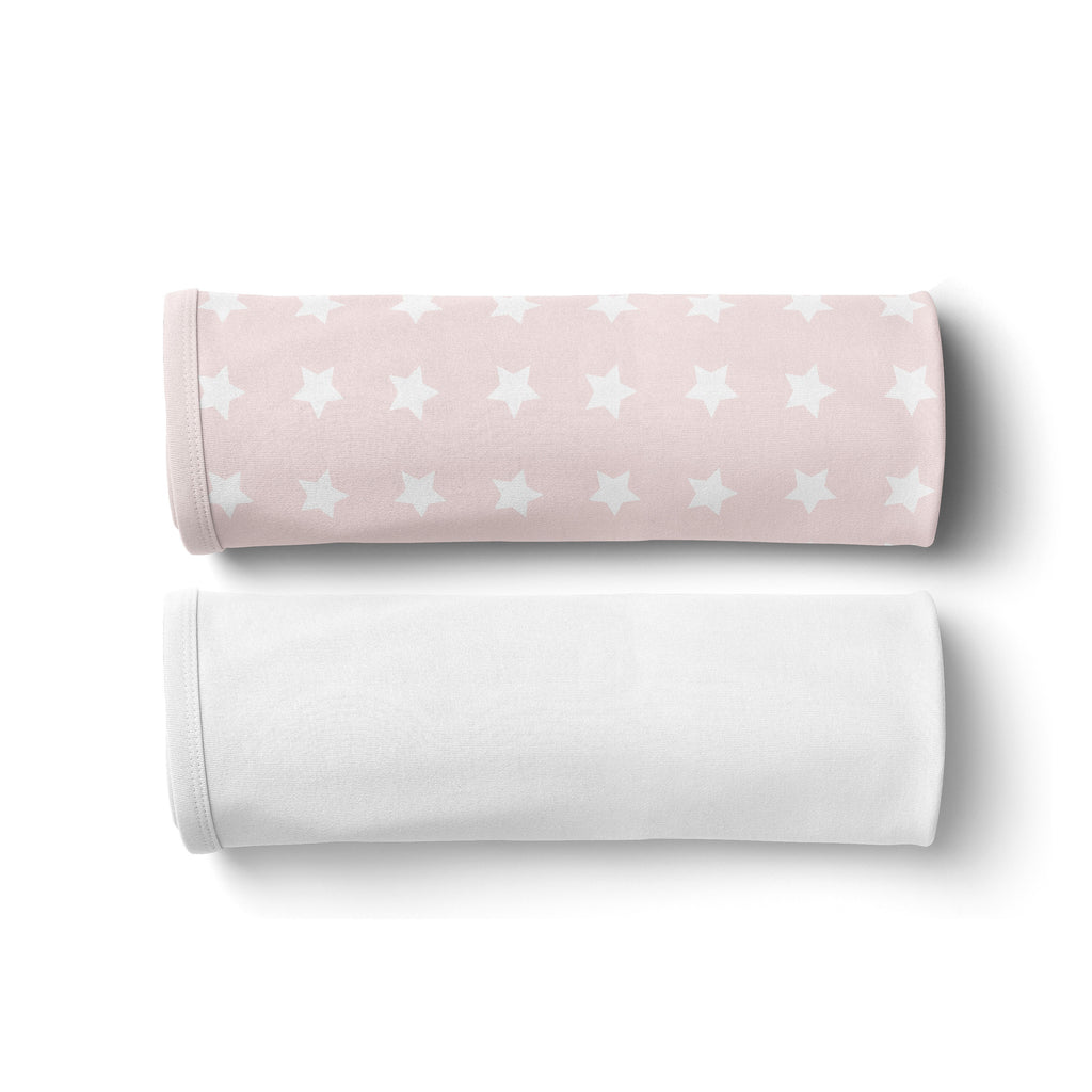 Everyday Essentials 2 pack Jersey Wraps - White, Pink Stars
