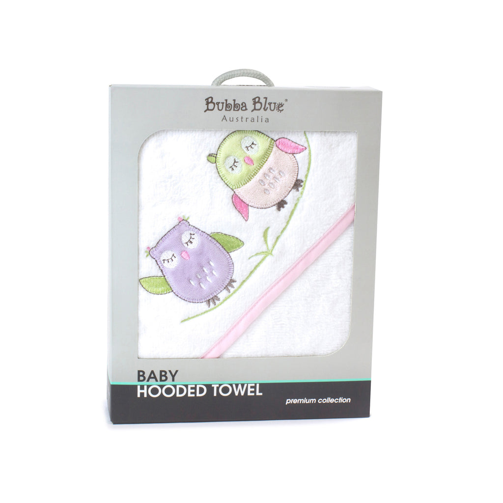 Girl Baby Owl Hooded Towel
