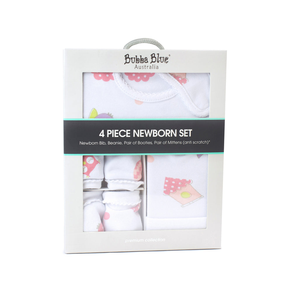 Girl Baby Owl 4 Piece Newborn Layette Set
