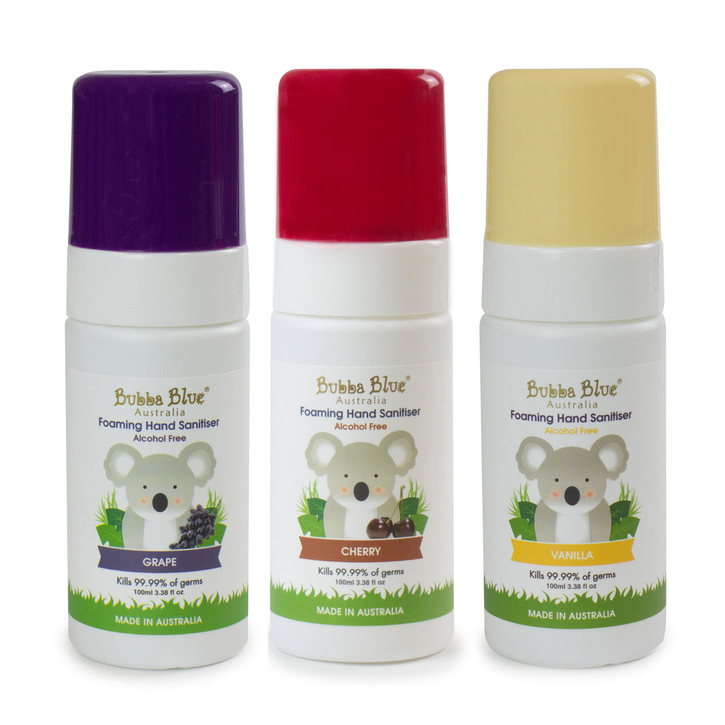Alcohol Free Hand Sanitiser Bundle - Grape, Cherry, Vanilla - Bubba Blue Australia