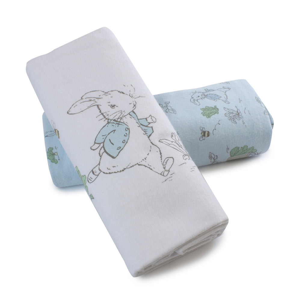 Peter Rabbit 'Hop Little Rabbit' 2 Pack Flannel Wraps - Blue - Bubba Blue Australia