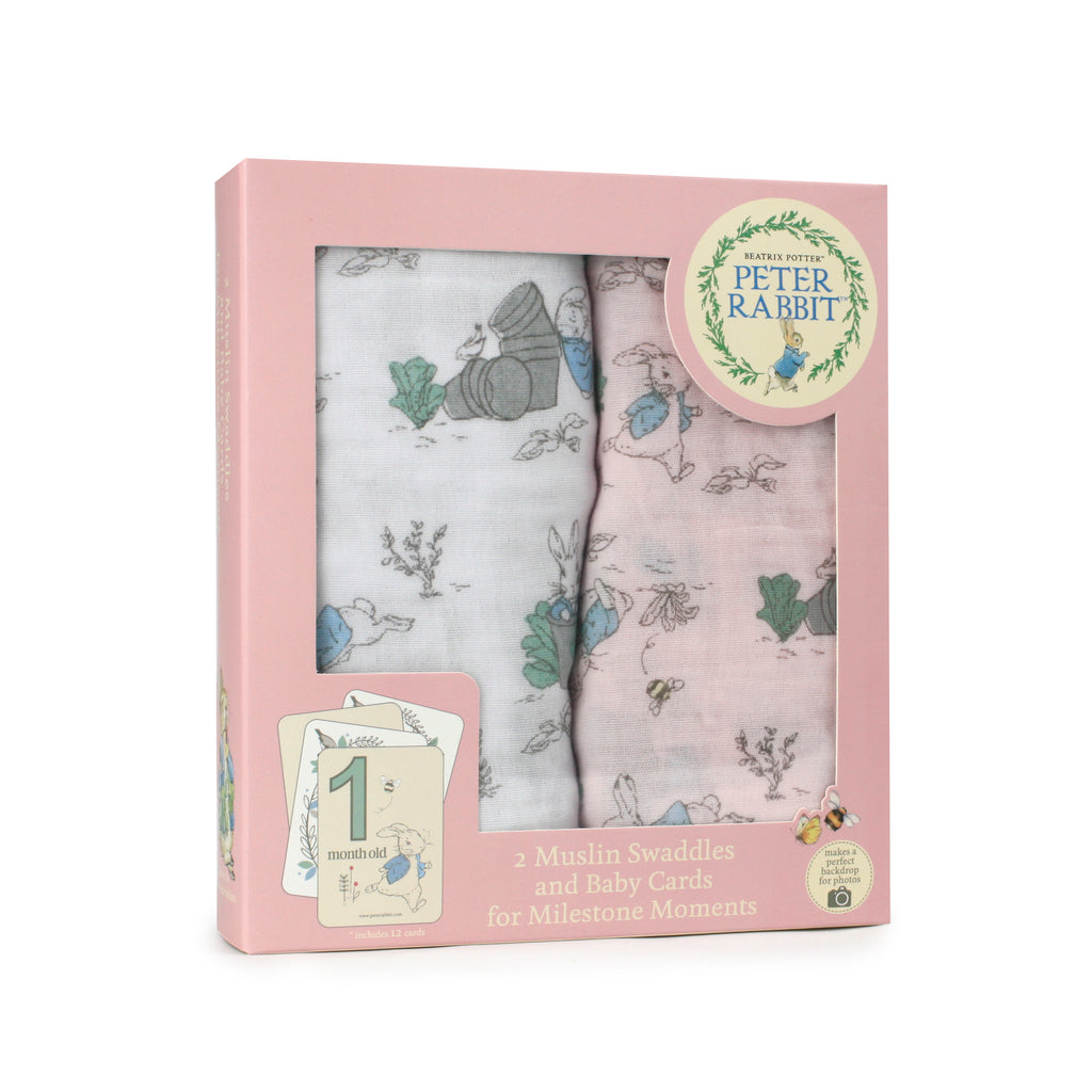 Peter Rabbit 'Hop Little Rabbit' 2pk Muslin Swaddles & Milestone Cards Set - Pink