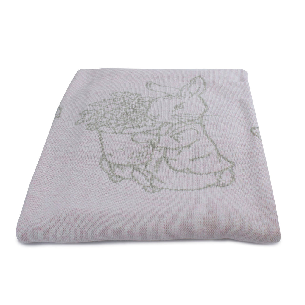 Peter Rabbit 'Hop Little Rabbit' Cotton Knit Blanket - Pink - Bubba Blue Australia