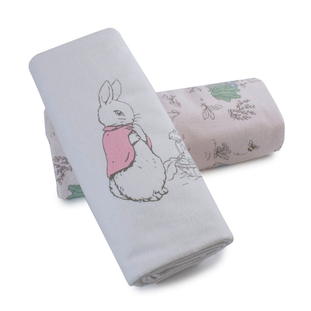 Peter Rabbit 'Hop Little Rabbit' 2 Pack Flannel Wraps - Pink - Bubba Blue Australia