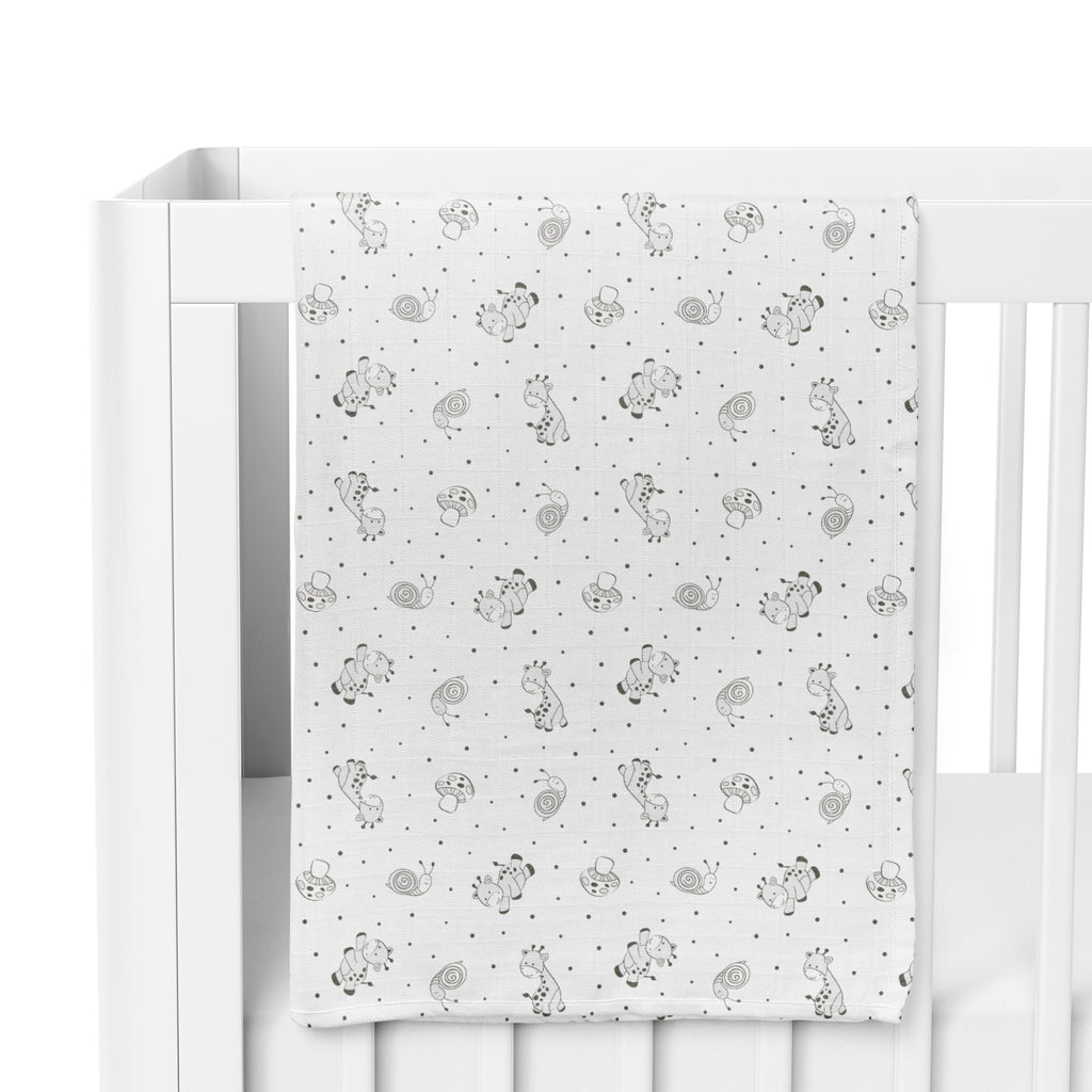 Grey Playtime 2pk Muslin Wraps With Milestone Card - Bubba Blue Australia