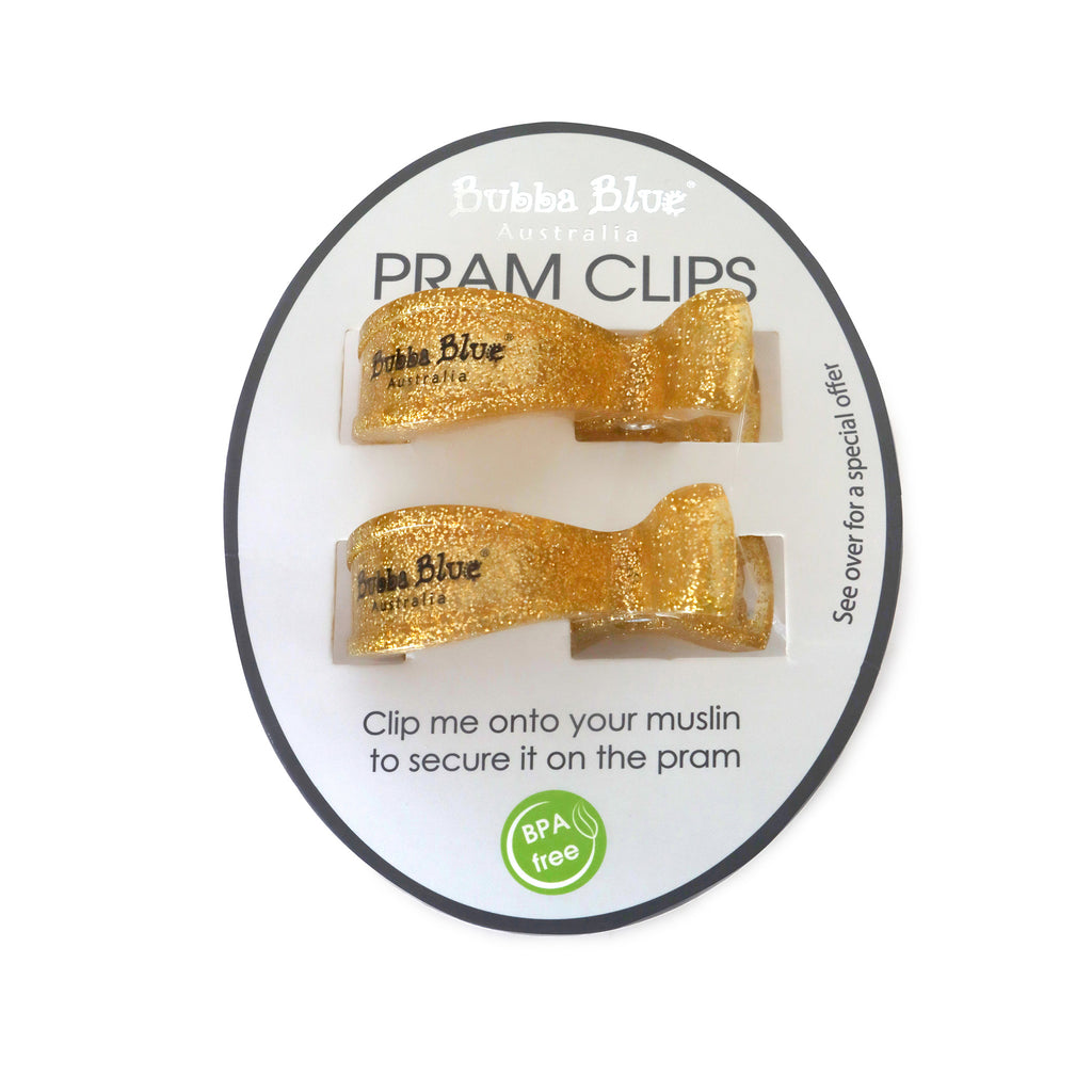 2 Pack Pram Clips - Gold - Bubba Blue Australia