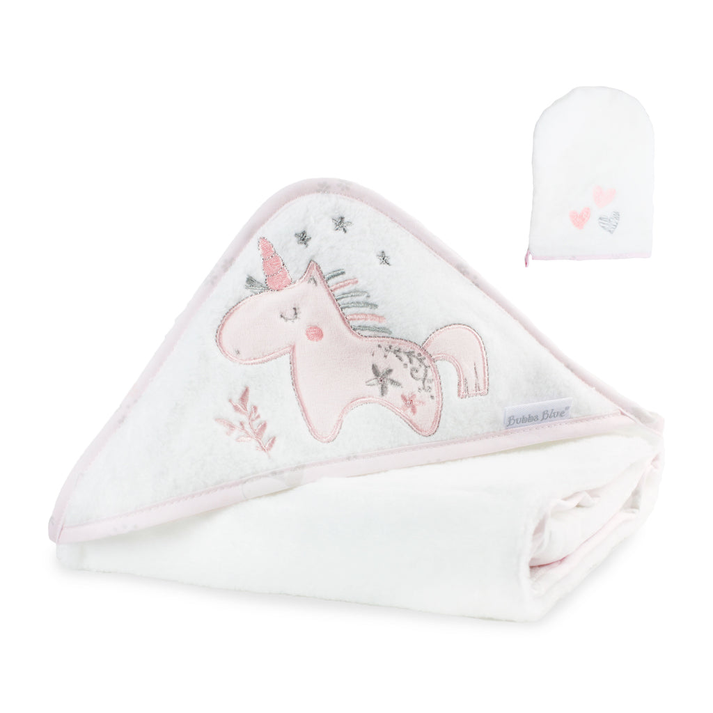 Unicorn Magic Hooded Towel plus FREE Bath Mitt - Bubba Blue Australia