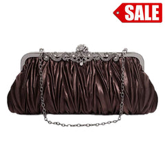 PULAMA Elegant Envelope Clutch Satin Purse Wallet with Vintage Decoration Brown