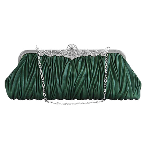 PULAMA 1920s Crossbody Bag for Women, Vintage Evening Clutch Purse Wallet (two chains, 9 colors) (Green 01)