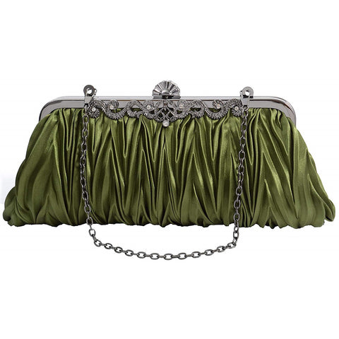 PULAMA 1920s Crossbody Bag for Women, Vintage Evening Clutch Purse Wallet, Army Green