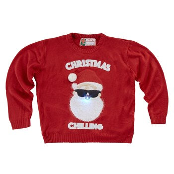 """Christmas Chilling"" Santa in Sunglasses Light-Up Red Ugly Sweater"