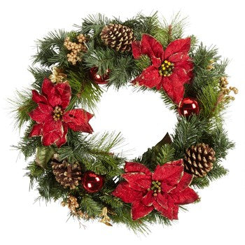 "24"" Poinsettia and Red Ornament Wreath"