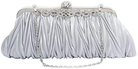 PULAMA 1920s Crossbody Bag for Women Vintage Evening Clutch Purse Wallet Silver For Wedding and Party