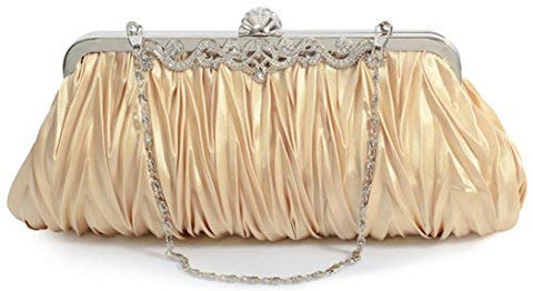 PULAMA Elegant Envelope Clutch Satin Purse Wallet with Vintage Decoration, Gold