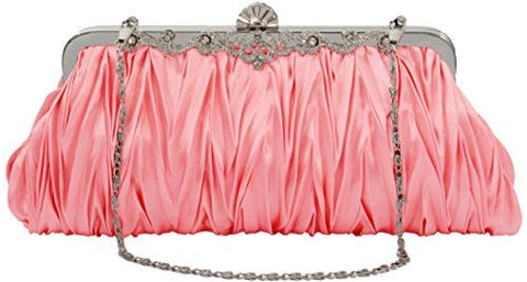 PULAMA Elegant Envelope Clutch Satin Purse Wallet with Vintage Decoration Watermelon