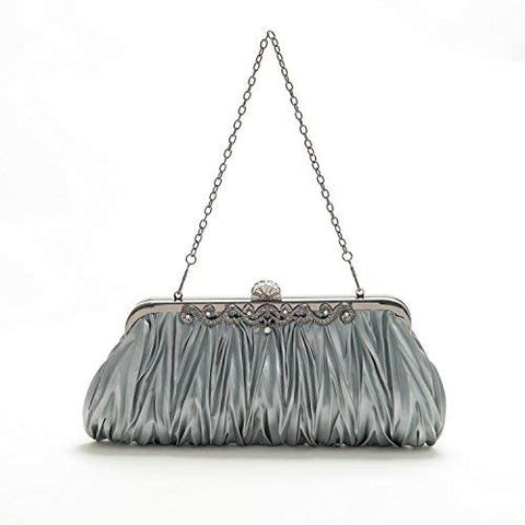 PULAMA Elegant Envelope Clutch Satin Purse Wallet with Vintage Decoration, Grey
