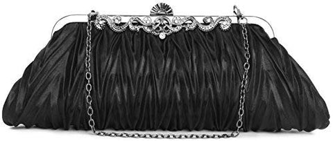PULAMA 1920s Crossbody Bag for Women, Vintage Evening Clutch Purse Wallet, Black