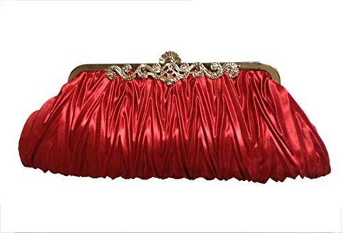 PULAMA Elegant Envelope Clutch Satin Purse Wallet with Vintage Decoration, Burgundy