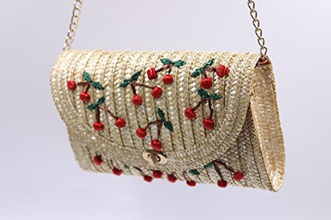 PULAMA Straw Crossbody Crochet Shoulder Bag Pom Pom Tassel Pinapple Fringe Fashion Clutch