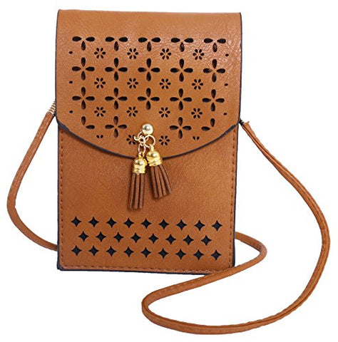 PULAMA Vintage Crossbody PU Leather Cellphone Wallet Purse Loose Change Bag Pouch for Womens