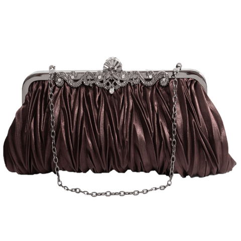 PULAMA Gorgeous Shoulder Bag Clutch Fit Evening Formal Party Prom, Gift for Wife Girlfriend (two chains) (Quiet Brown)