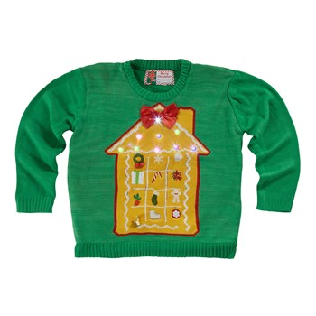 Christmas House Light-Up Green Green Ugly Sweater